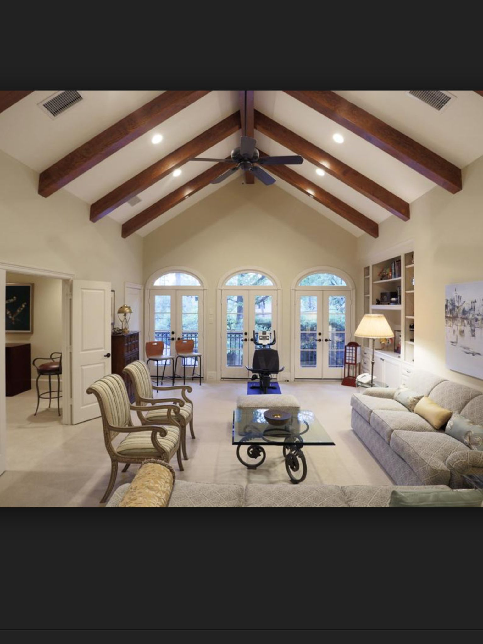 Open beam living room Vaulted ceiling beams, Ceiling