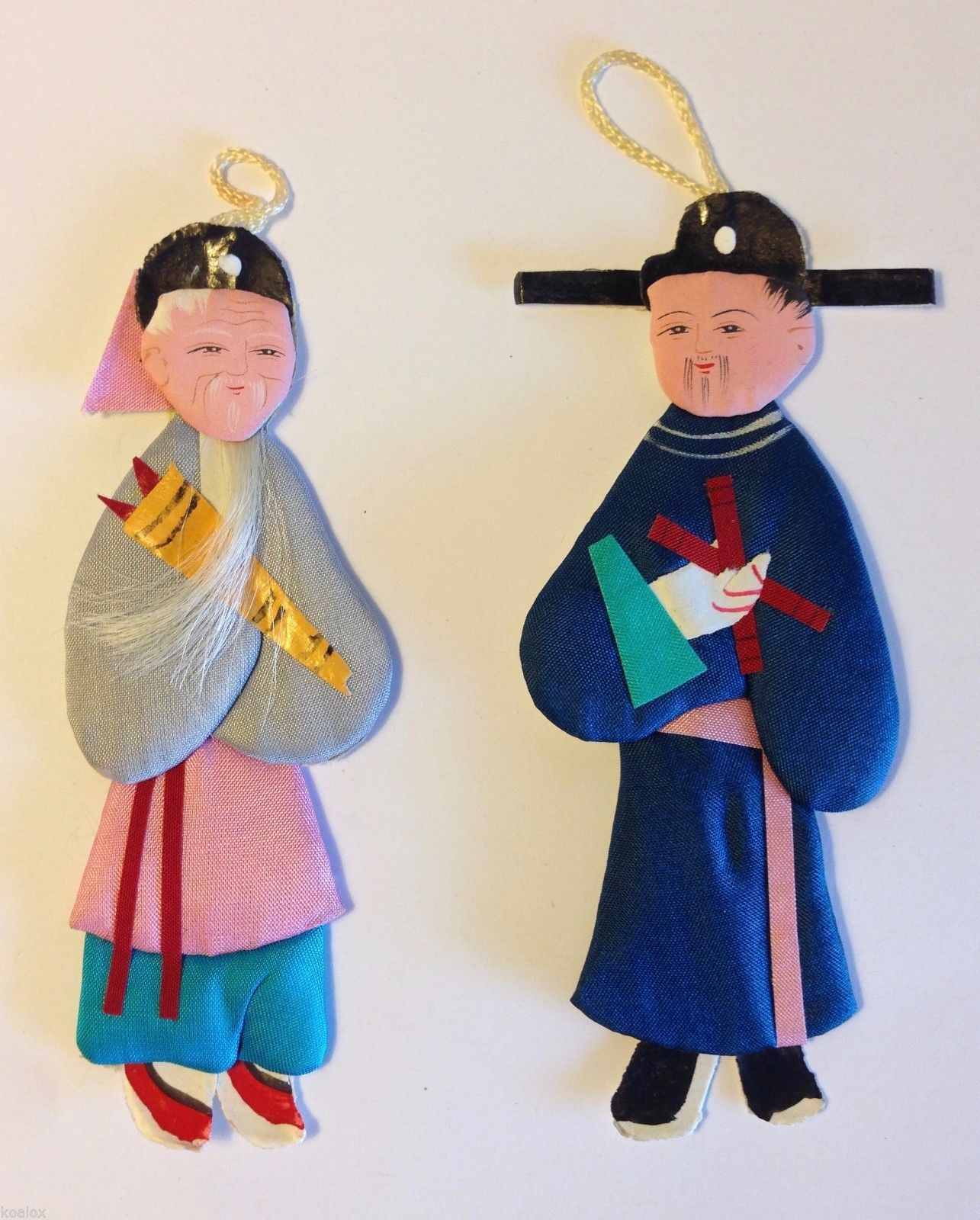 Vintage Chinese Paper Cloth Doll Ornaments Peoples Republic Of China