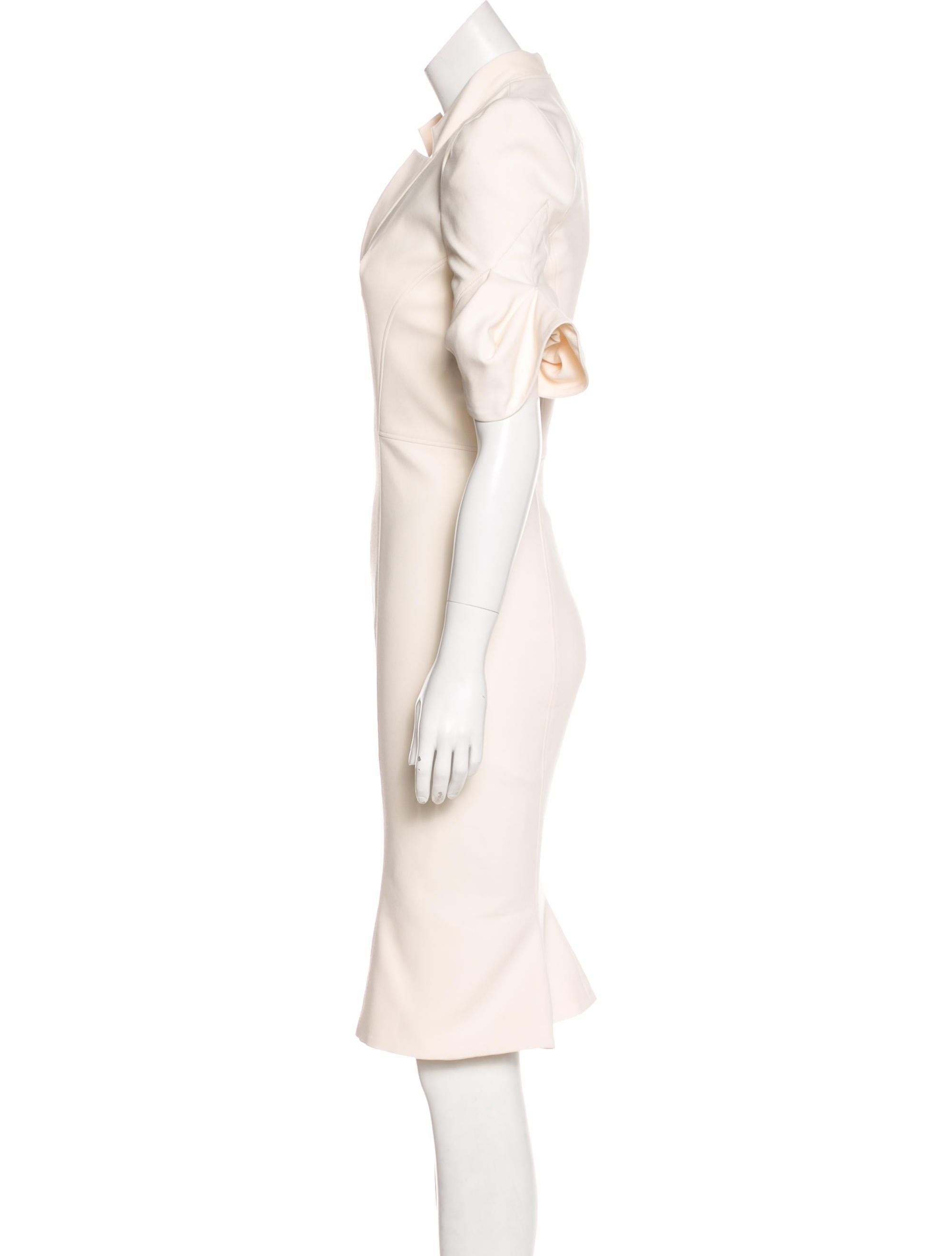 Ivory Zac Posen Structured Midi Dress With V Neck And Concealed Zip Closure At Back Midi Dress Fashion Dresses [ 2641 x 2002 Pixel ]