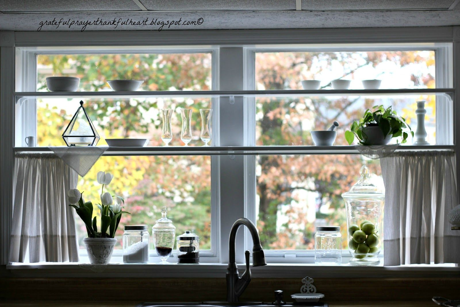 Window for kitchen  with a grateful prayer and a thankful heart  adding shelves to
