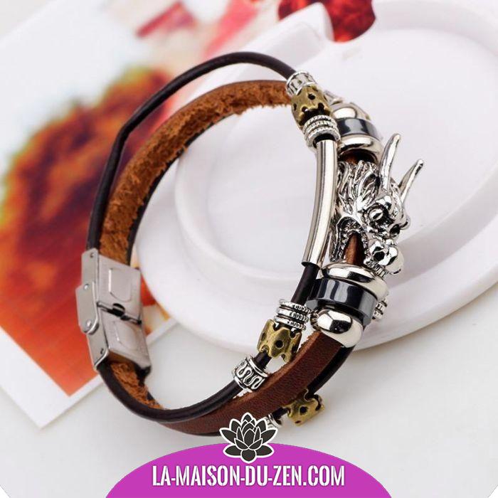 Tibet ethnique cuir Argent tibétain dragon bracelet à breloque