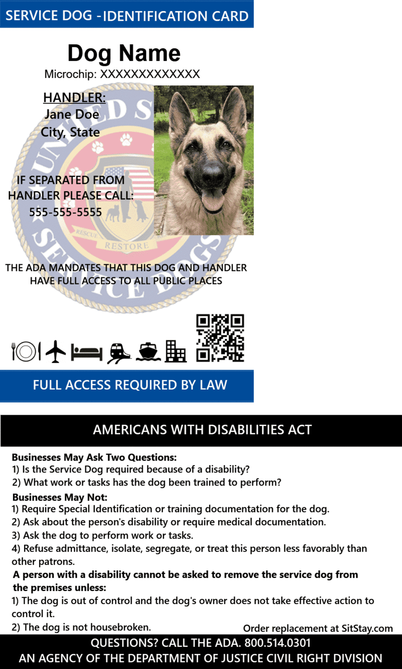 ID Card Service Dog with Holographic Security Seal