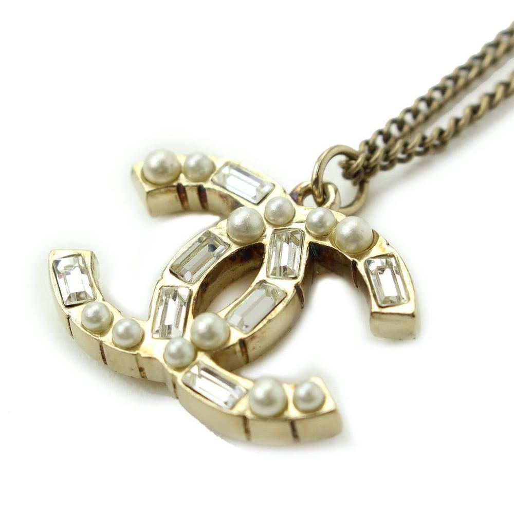 Auth chanel cc mark necklace gold tone bijou fake pearl 09a 90010405 aloadofball Images