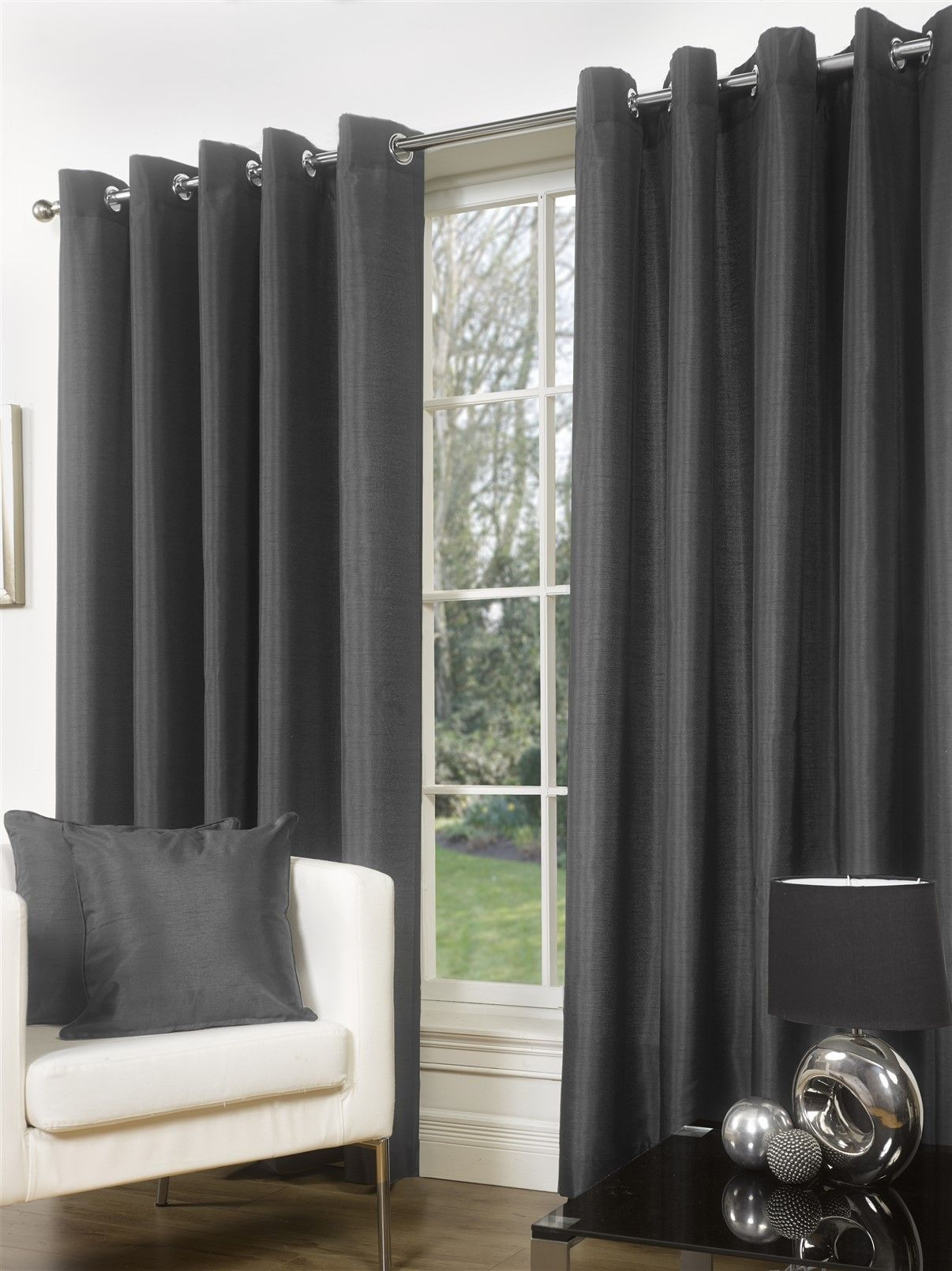 Slate Grey Faux Silk Eyelet Curtains