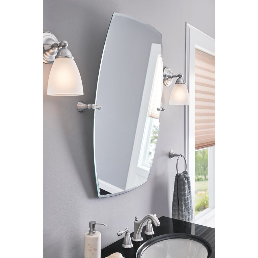 Moen Rockcliff Extra Large 28 3 In Rectangular Frameless Bathroom Mirror Lowes Com Brushed Nickel Mirror Brushed Nickel Bathroom Mirror Rectangular Bathroom Mirror
