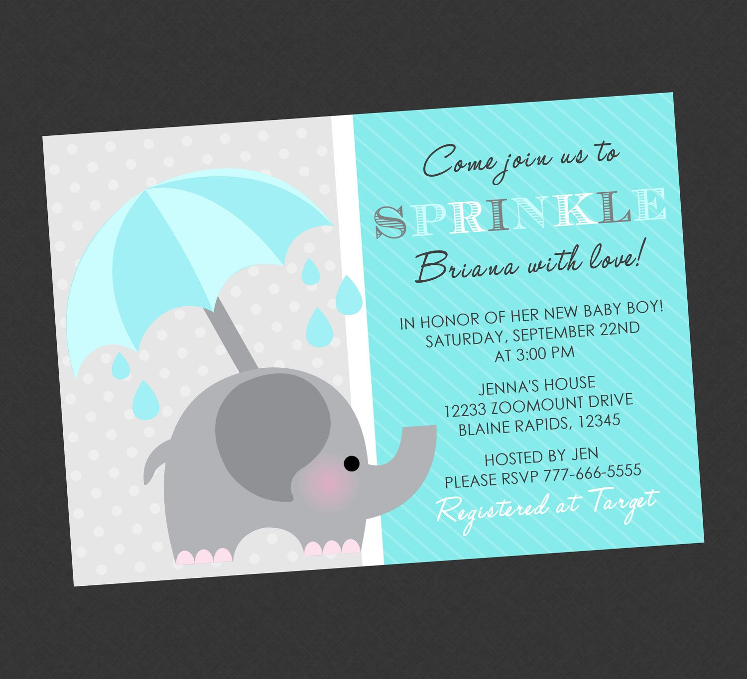 Elephant sprinkle baby shower invitation teal 1299 via etsy elephant sprinkle baby shower invitation teal 1299 via etsy kristyandbryce Images