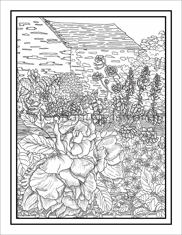 English Cottage Garden Instant Download Printable Pdf Coloring Page English Cottage Garden Cottage Garden Coloring Pages