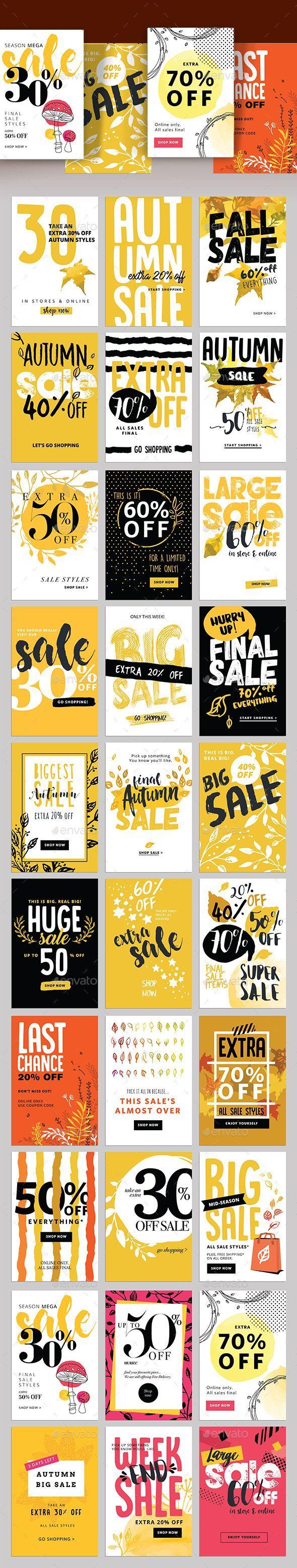 Autumn Social Media Sale Banners Template PSD, Vector EPS, AI ...