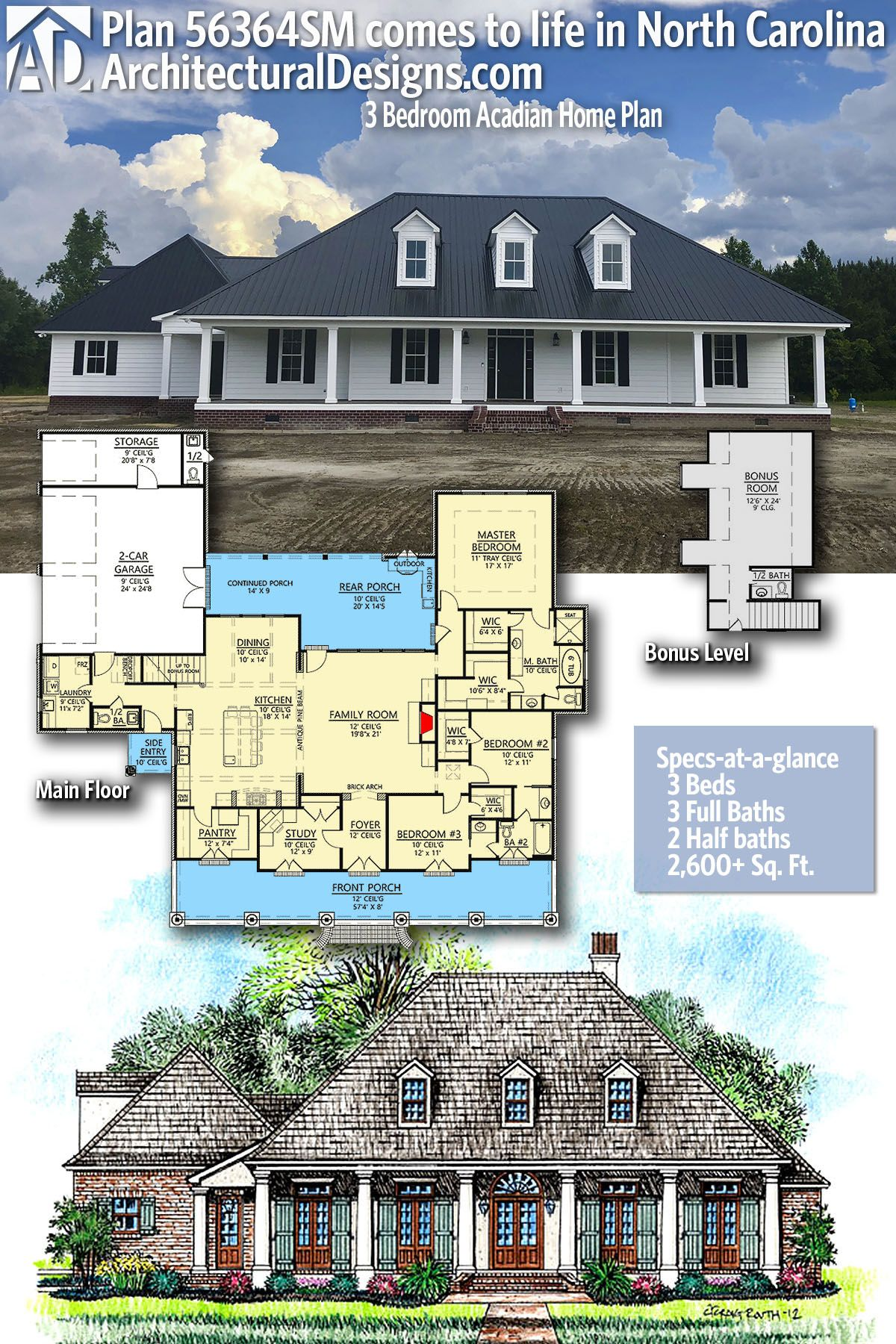 Architectural Designs Acadian House Plan 56364SM client built
