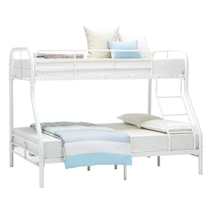 cce714d3e4957 Mecor Twin Over Full Metal Bunk Bed Frame - with Inclined Ladder - Safety  Rails for Kids Teens Adult - Space-Saving Design - White Review