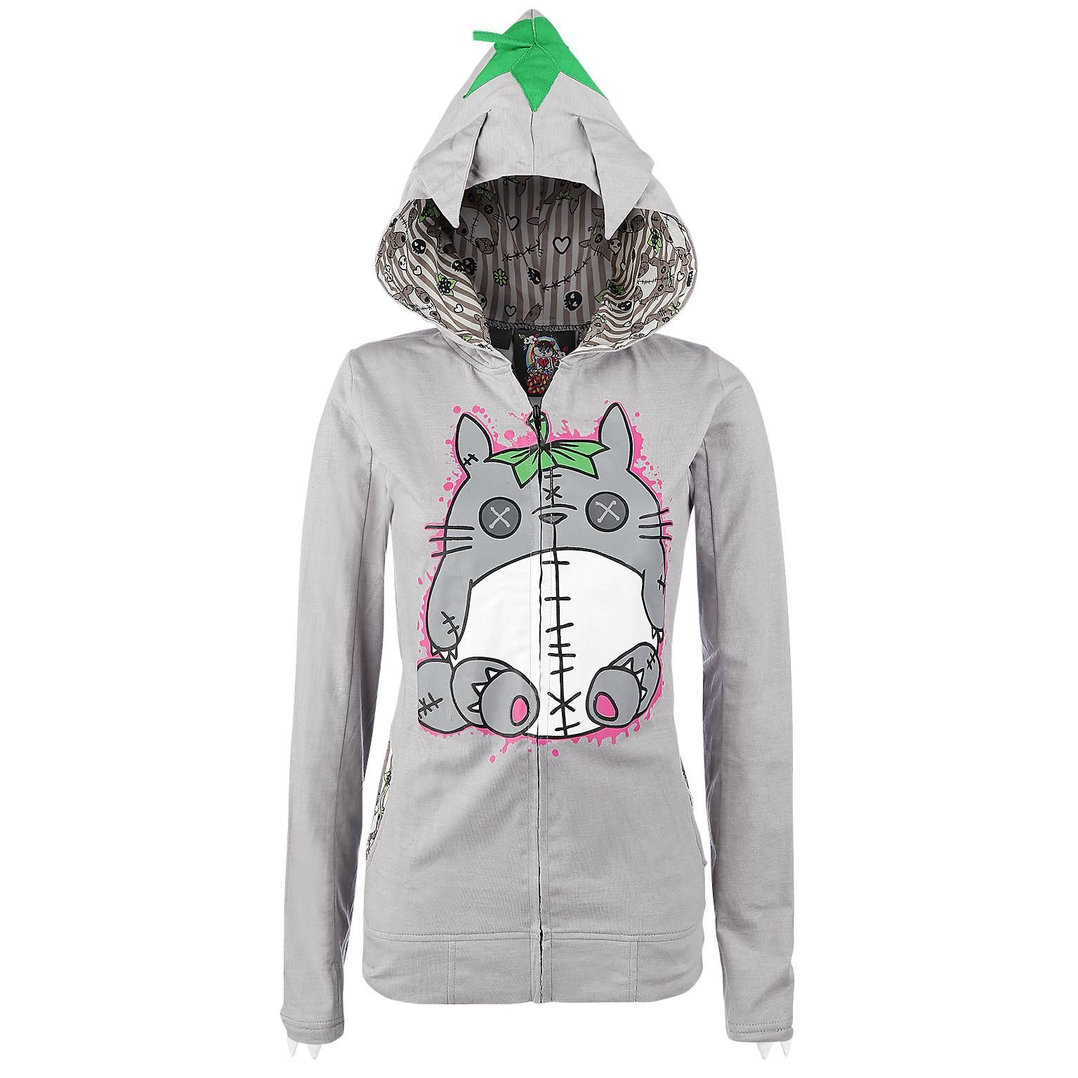 girls' hoodie jacket - large-scale front print - with a paw print ...