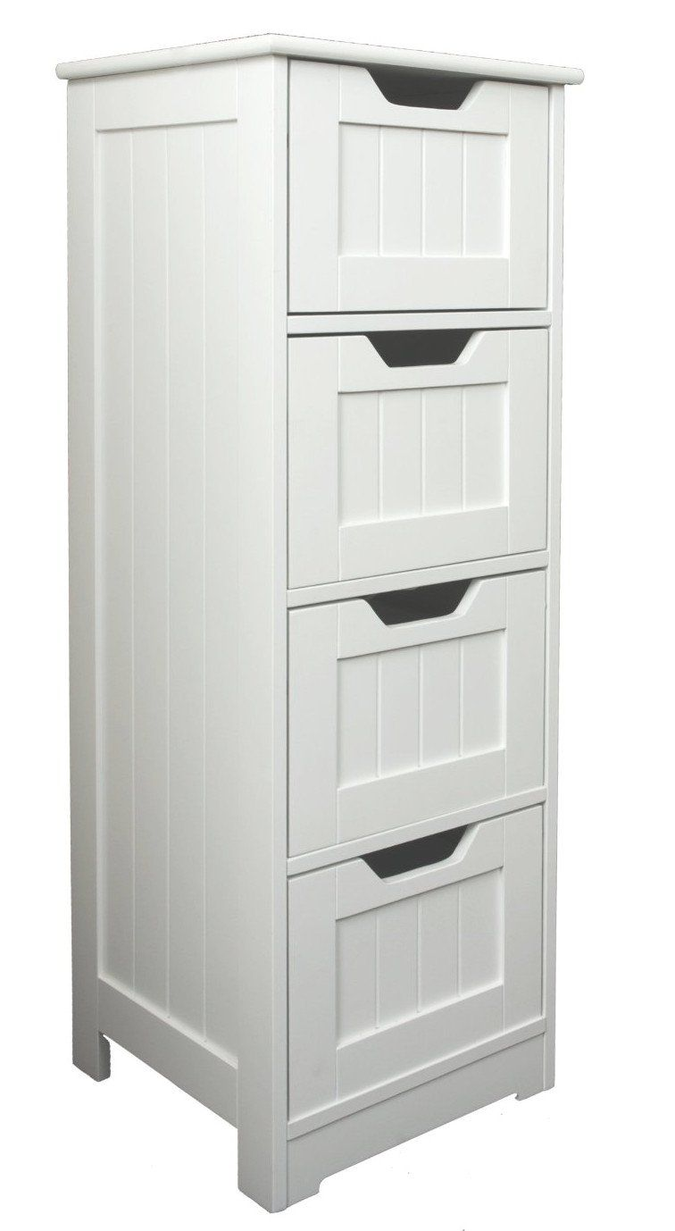 White Storage Cabinet 4 Large Drawers Bathroom Or Bedroom Solution