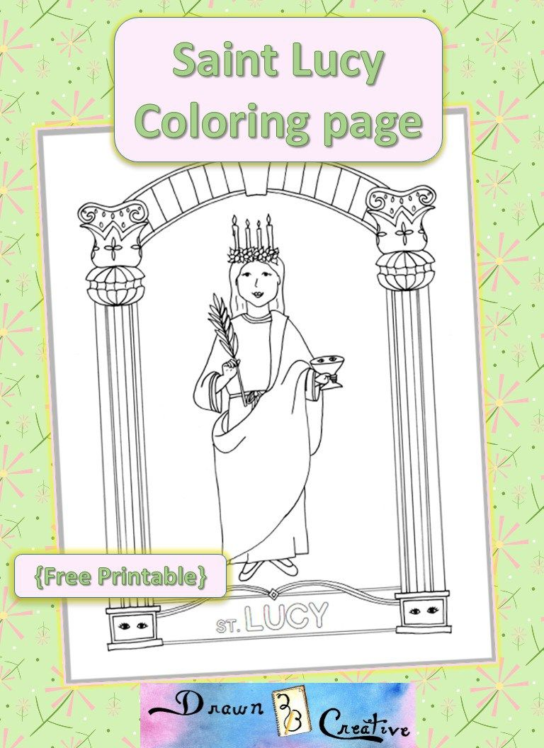 Saint Lucy Coloring Page Free Printable Drawn2bcreative Saint Lucy Coloring Pages Free Coloring Pages