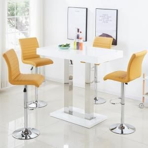 Caprice Bar Table In White Gloss With 4 Ripple Curry Stools Bar Table Bar Table And Stools White Bar Table