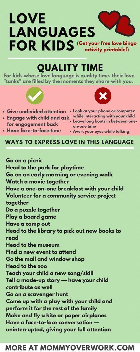 5 Love Languages for Children: 100+ I LOVE YOU'S + FREE Printable Bingo #parenting
