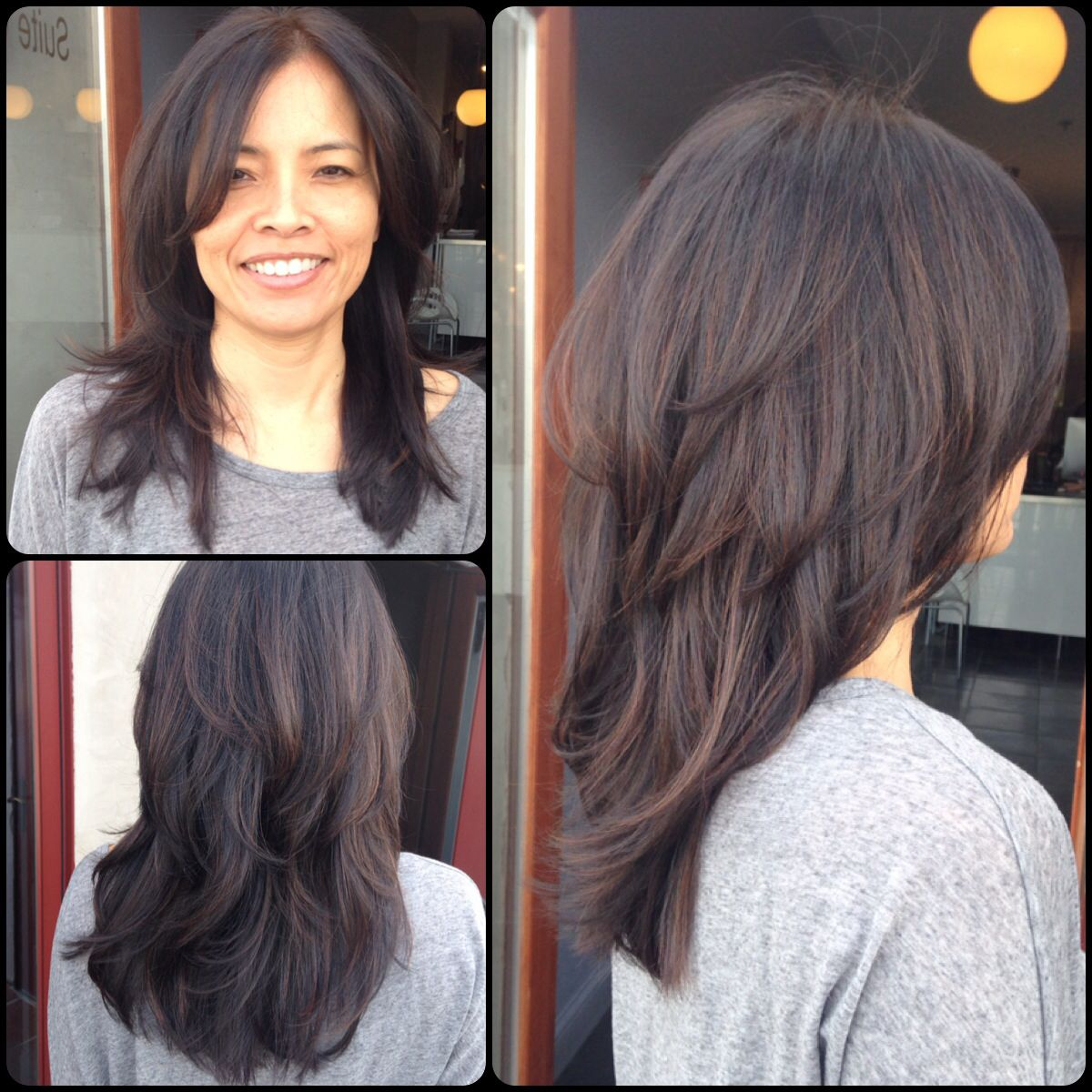 Layered Haircuts With Highlights In Crown Area Dark Hair