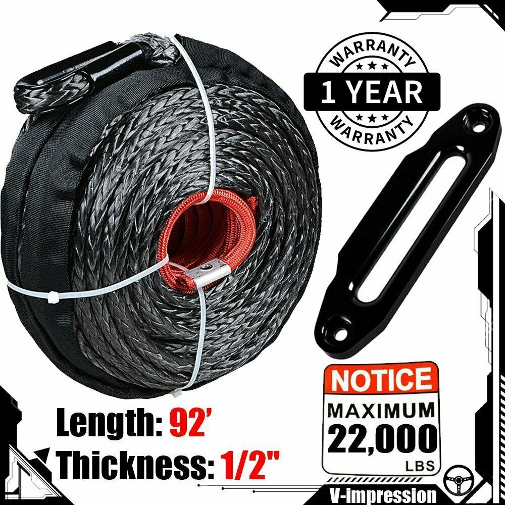 92 X 1 2 Synthetic Winch Rope 22000lbs Black Hawse Fairlead Aluminum Atv Utv Synthetic Winch Rope Winch Rope Winch