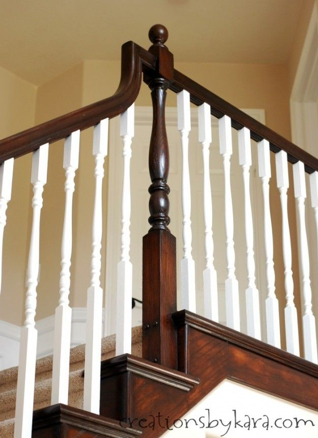 Best Diy Staircase Makeover With Stain And Paint Creations By Kara For The Home Pinterest 640 x 480