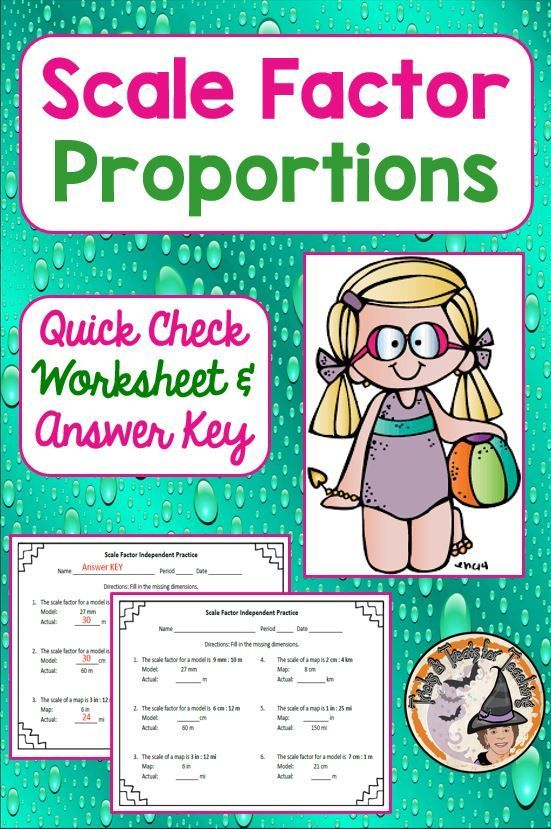 Scale Factor Proportions Quick Check Worksheet with Answer