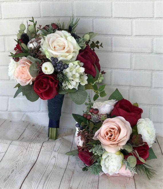 Hochzeitsstrauß, Brautstrauß, Burgund & Marine Bouquet, Burgund Hochzeitsblumen, Marine blau und erröten Bouquet, Burgund, erröten, Marine Bouquet