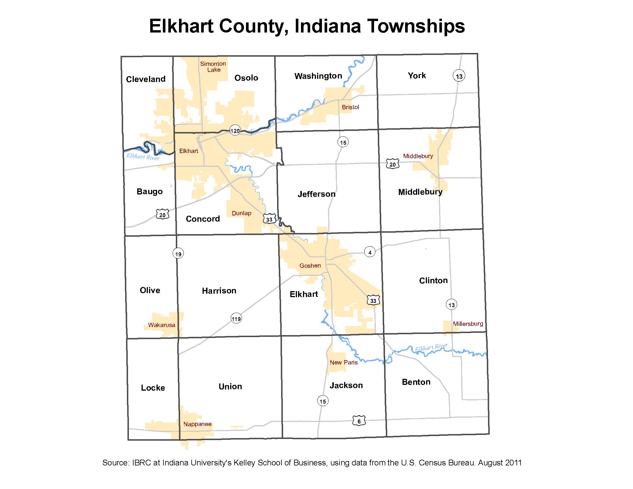 Elkhart County Indiana Township Map Elkhart Indiana Elkhart Indiana