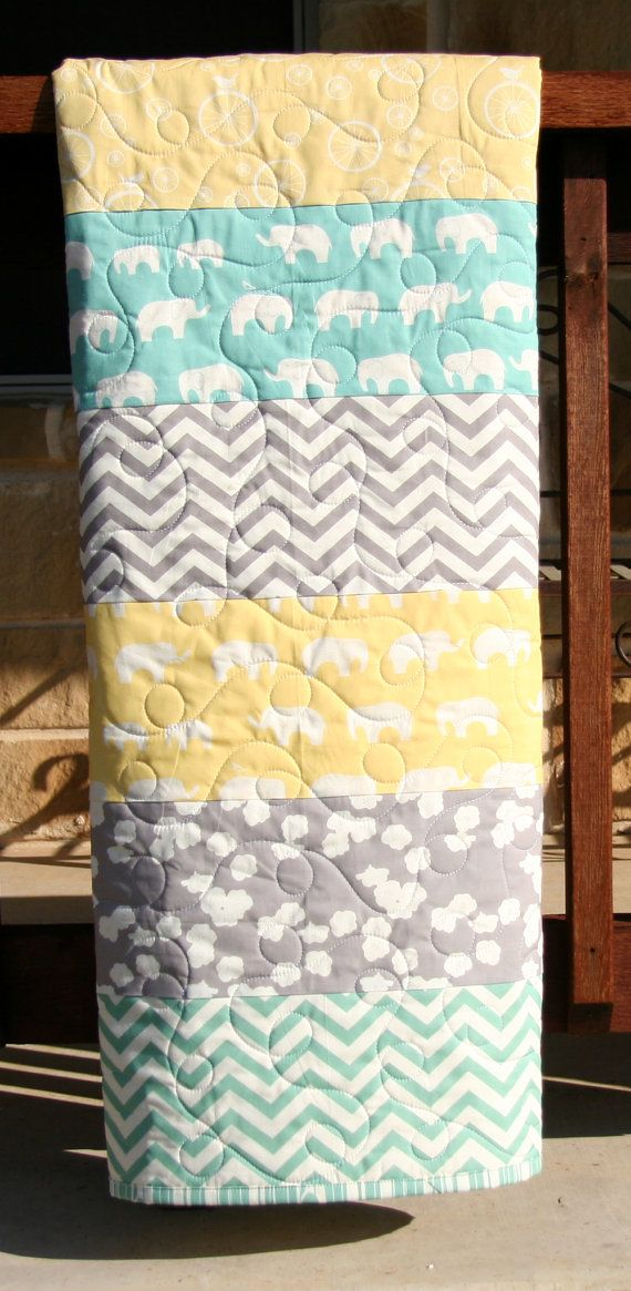 Gender Neutral Quilt Organic Birch Fabrics Nursery Bedding Yellow Mint Grey Boy Girl Chevron Elephant Striped Minimalist Newborn Gift Baby Room Colors Neutral Baby Quilt Neutral Quilt