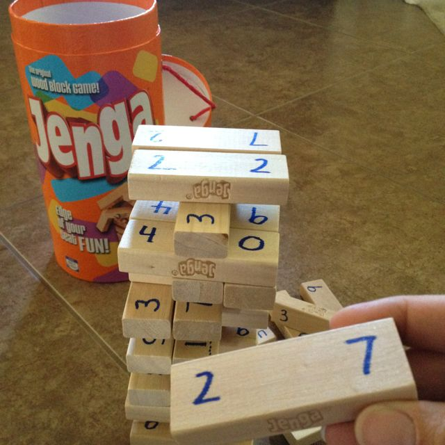 Jenga math!  Write the numbers one (0_1) to one hundred eight (10_8) on the blocks using both sides. Write a line under numbers that could be read upside down (0,1,6,8,9) when they are both numbers on a side. Leave the signs off! Pull out a block to solve a problem: Addition, subtraction, etc. Pull two for double digit addition, subtraction, multiplication (or one block using both sides). You can also use the blocks for comparing and ordering!  Use a recording sheet for accountability.