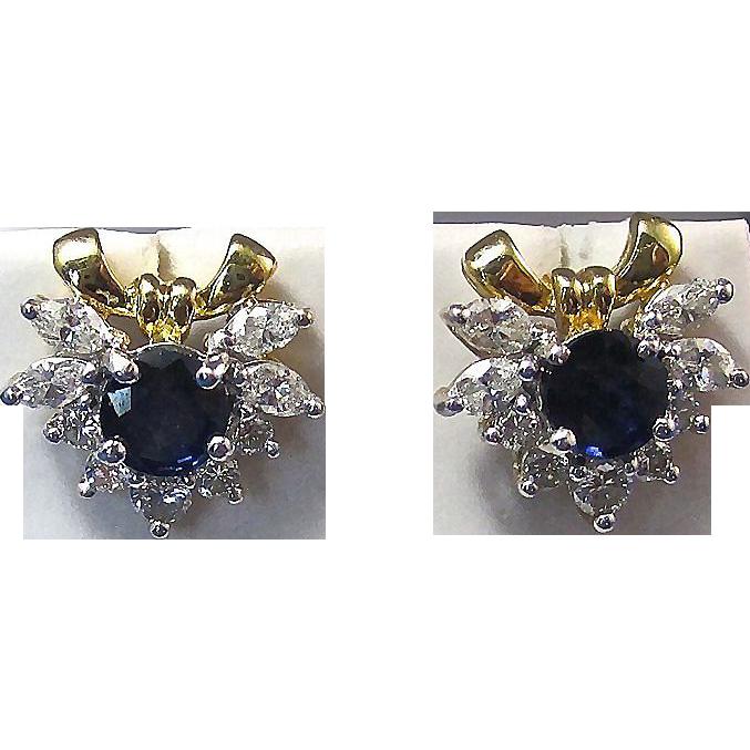 Vintage Estate Sapphire Diamond Bow Wedding Day Birthstone