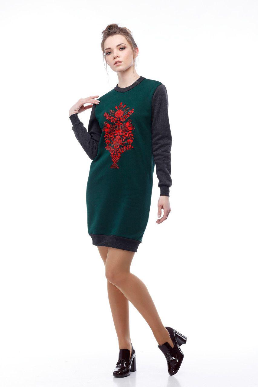 Платье-свитшот серо-зеленое - Народный бутик - интернет магазин вышиванок.  Вышитые платья 2660607431480