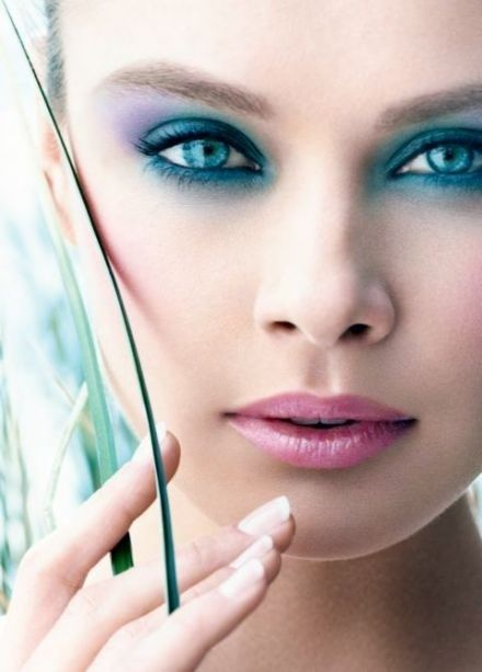 teal and purple for the eyes is ad for Clarins Nature Temptations - Spring Make-up 2009. hair-and-make-up beauty
