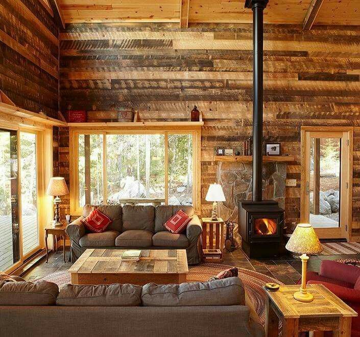 Shelf Above Window Cabin Living Room Rustic Home Interiors