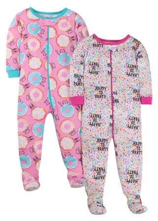 e915c20b29e1f Little Star Organic Tight Fit Stretchie Footed Pajamas, 2-pack (Baby Girls  & Toddler Girls)