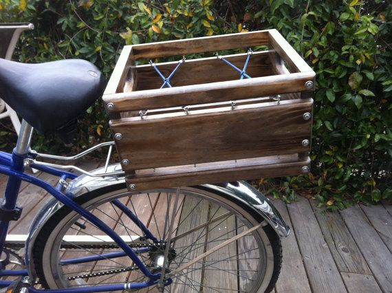 Handmade Bicycle Baskets : Custom built rustic wood crate bicycle basket by