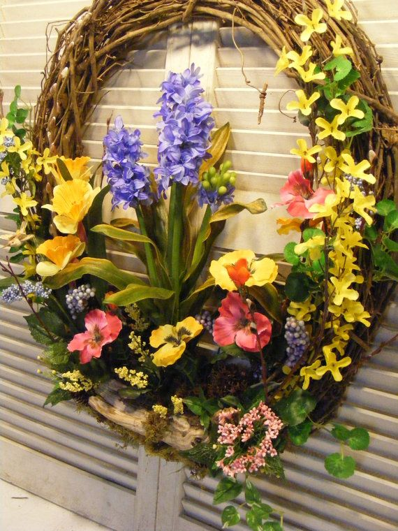 Wonderful woodland spring flower wreath hyacinth pansies wonderful woodland spring flower wreath hyacinth pansies forsythia and willow mightylinksfo