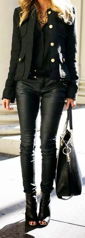 Street style | Edgy black leather         |          Luvtolook | Virtual Styling