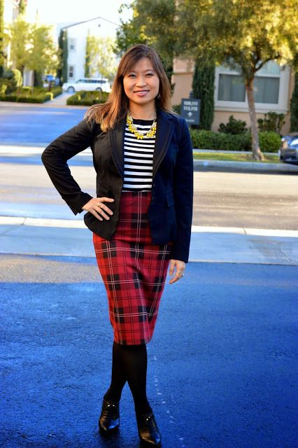 Throw Back Thursday Fashion Link Up: Plaid Tube Skirt