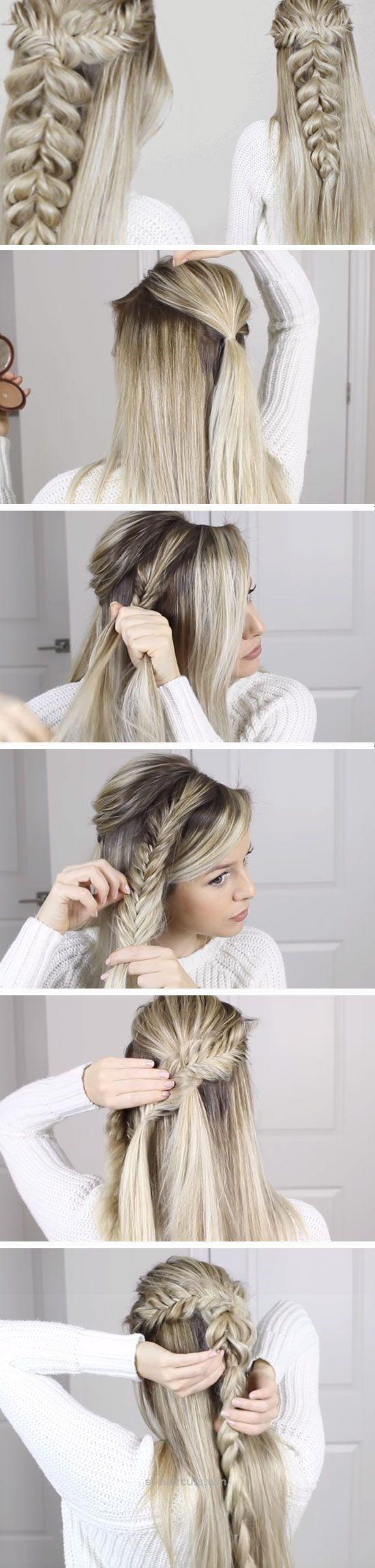 Fishtail into Pull Through Braid | Bridesmaid hairstyles, Medium ...