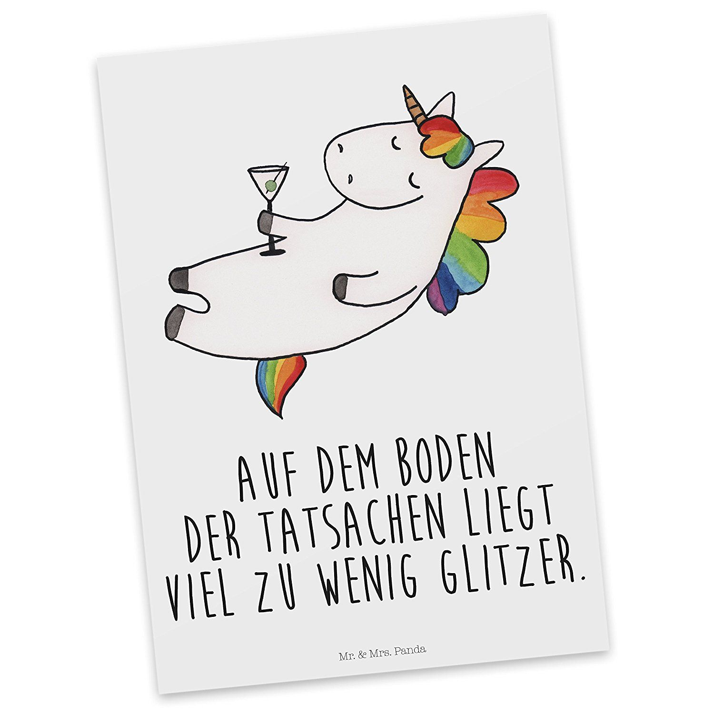 Mr Mrs Panda Postkarte Einhorn Cocktail 100 Handmade Aus