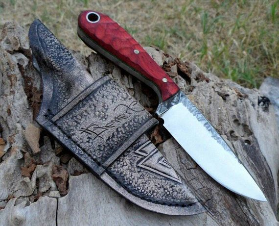 65g Carbon Steel Custom Knife Outdoor Bushcraft Knife With Leather