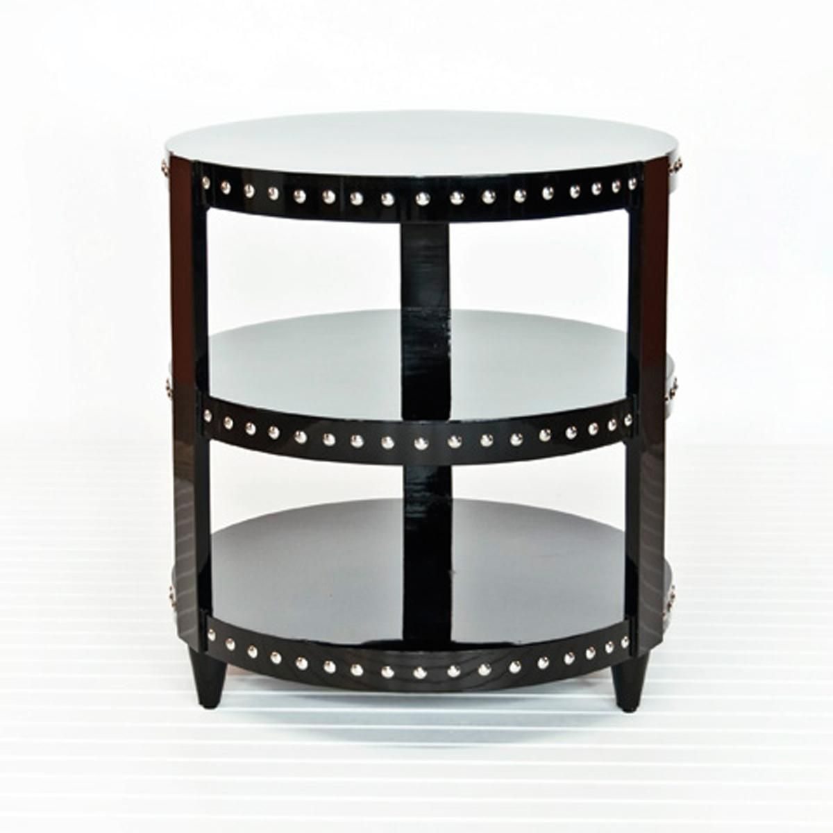 Lacquer Nailhead Accent Side Table 3 Colors Side Table Table Accent Side Table