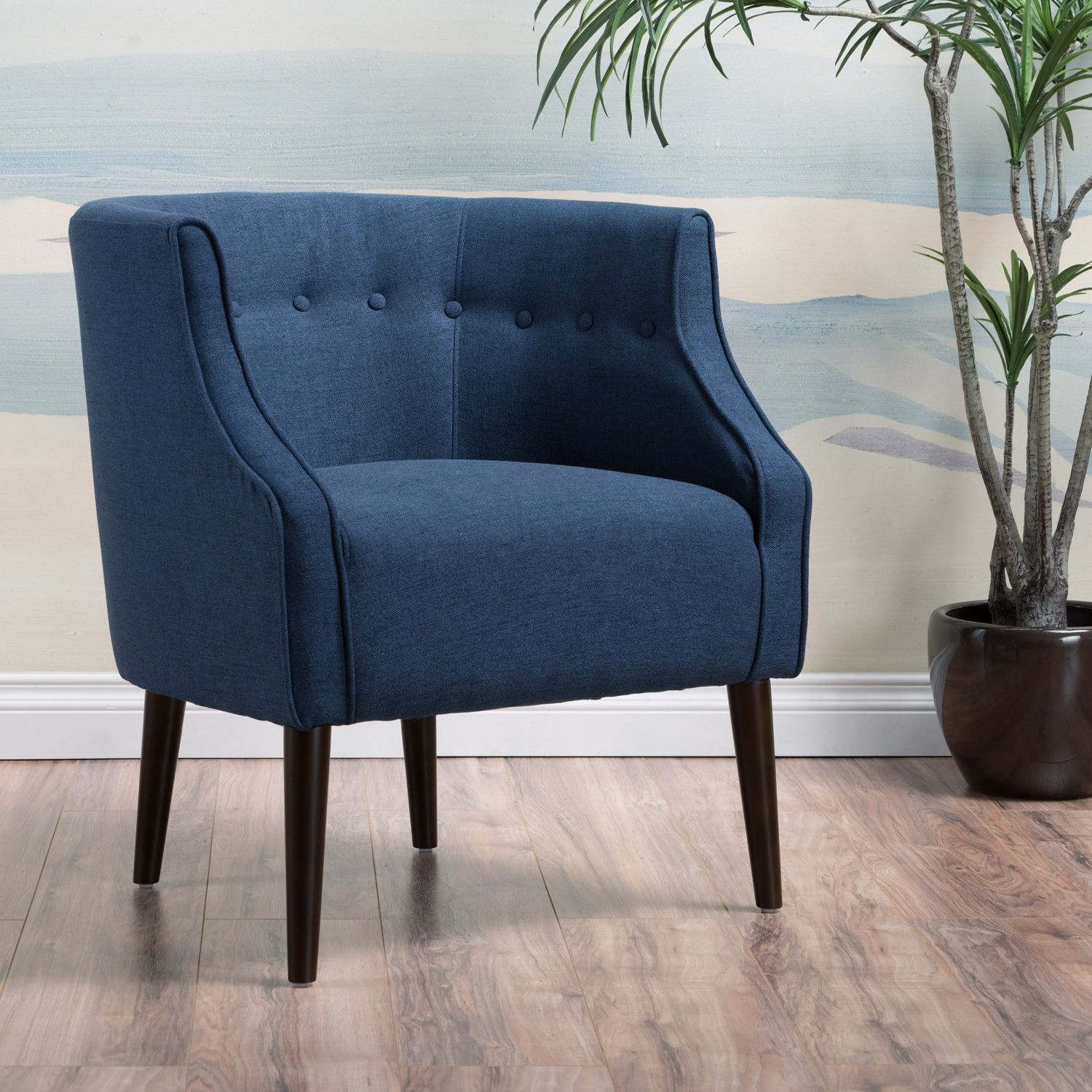 Merveilleux Bethany Navy Tufted Chair