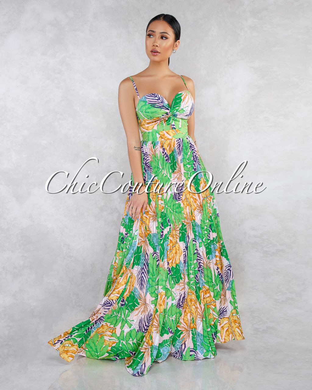 e73192c60e Chic Couture Online - Catarina Green Multi-Color Leaf Print Knot Pleated Maxi  Dress