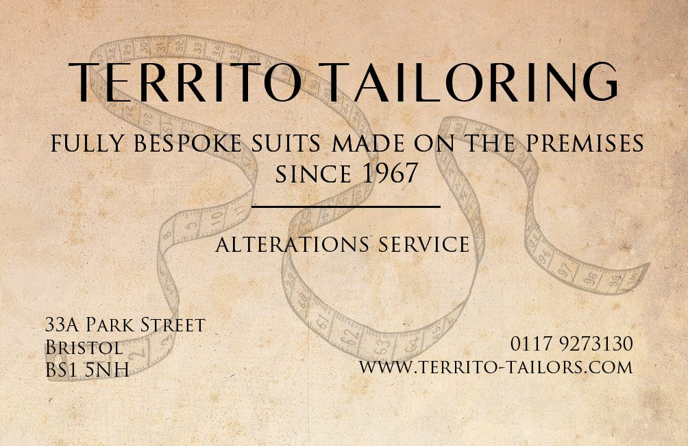 Territo Tailoring Business Cards Picture Show Design Park Street Bristol Business Cards Cards