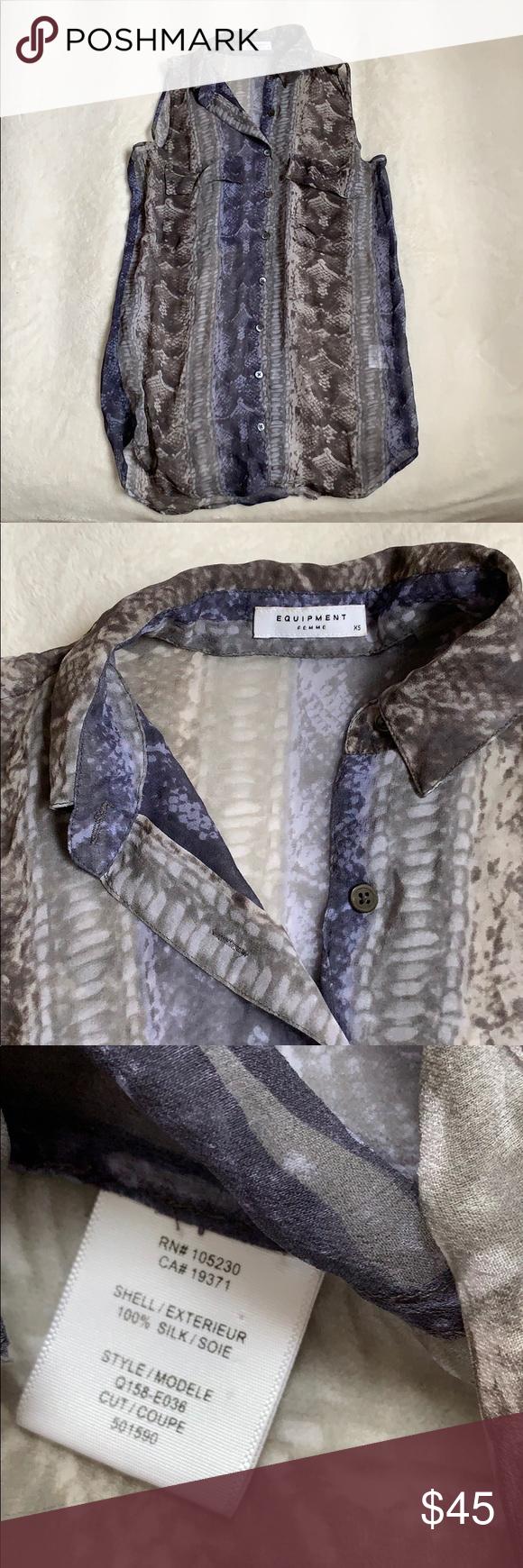 26471e8ea591 Equipment sleeveless snake print blouse Equipment sleeveless 100% silk  button down blouse, snake print