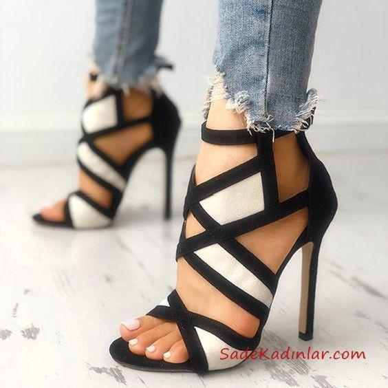 Yüksek Topuklu Ayakkabı Modelleri Siyah Beyaz Çapraz Bantlı Fermuarlı
