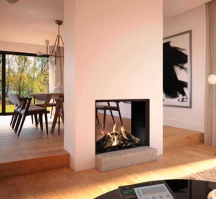 modern two sided plaster fireplace  fireplace living