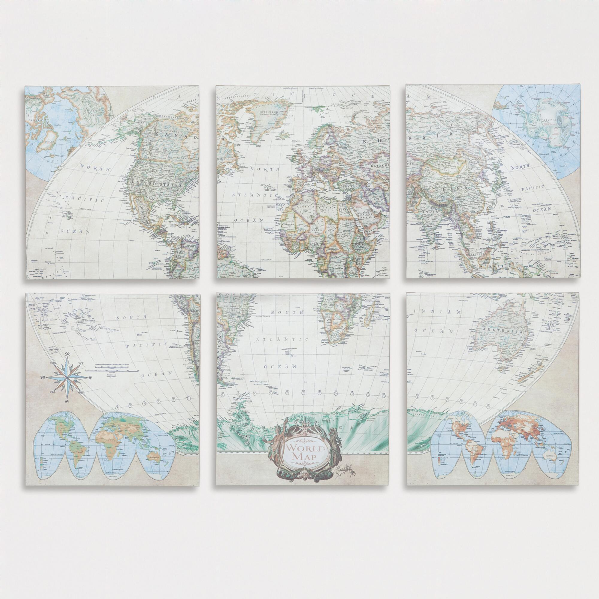 Six-Piece World Map Set, Set of 6: Multi/Natural - Canvas - Large ...