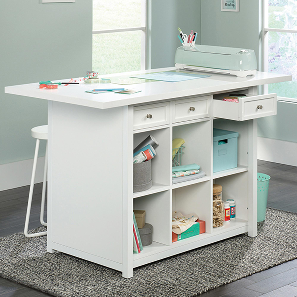 Sauder Craft Pro Work Table In Laminate White Nebraska Furniture Mart In 2020 Work Table Craft Table Craft Desk