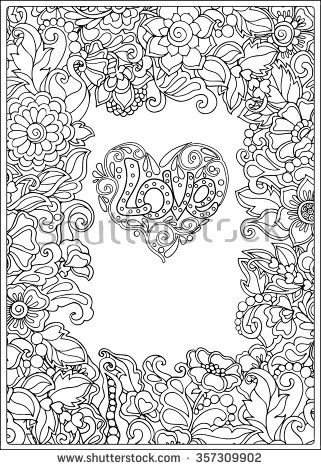 Decorative Love Heart With Flowers Valentines Day Card Coloring Book For Adult And Older Children Page Outline Drawing Vector Illustration