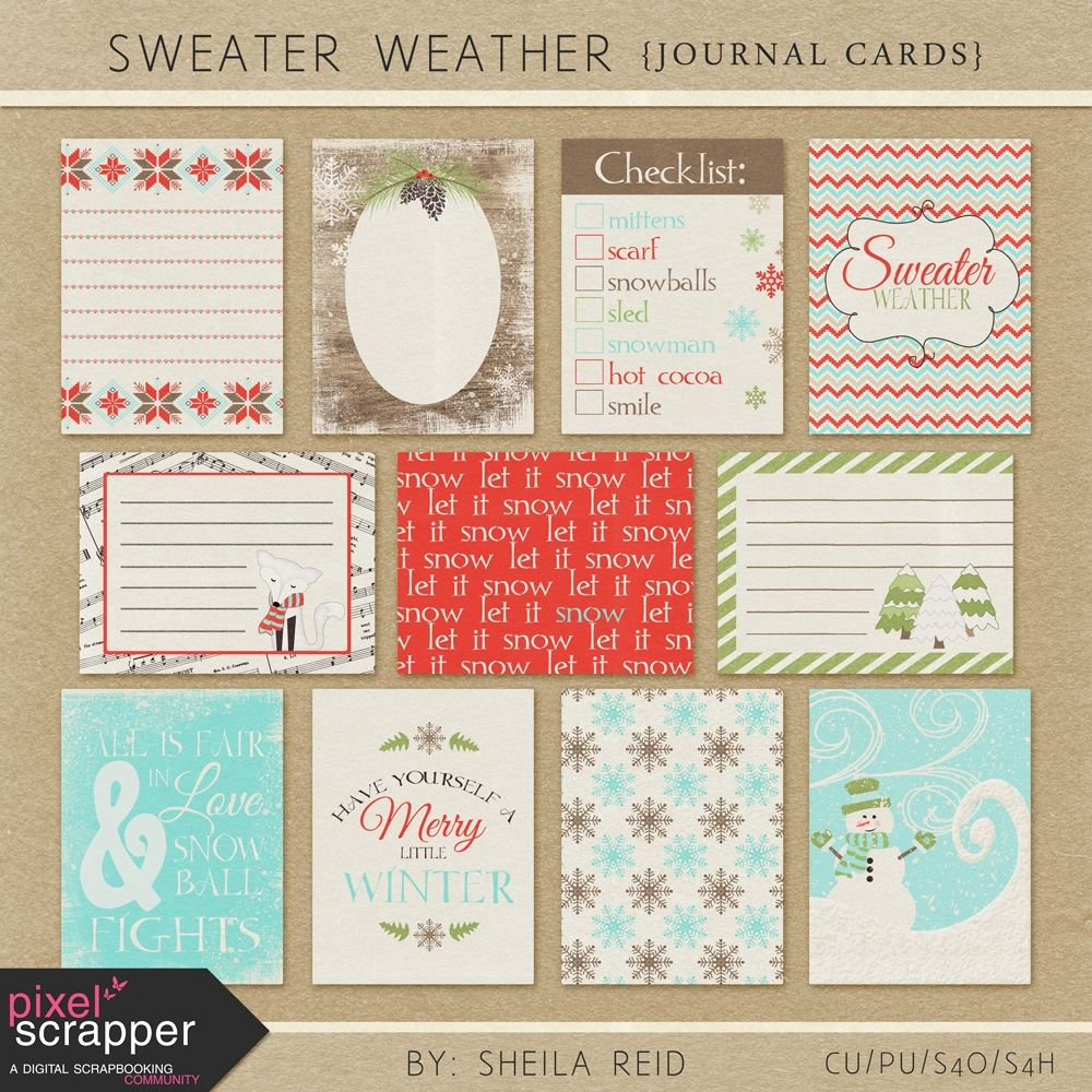 Sweater Weather Journal Cards Kit